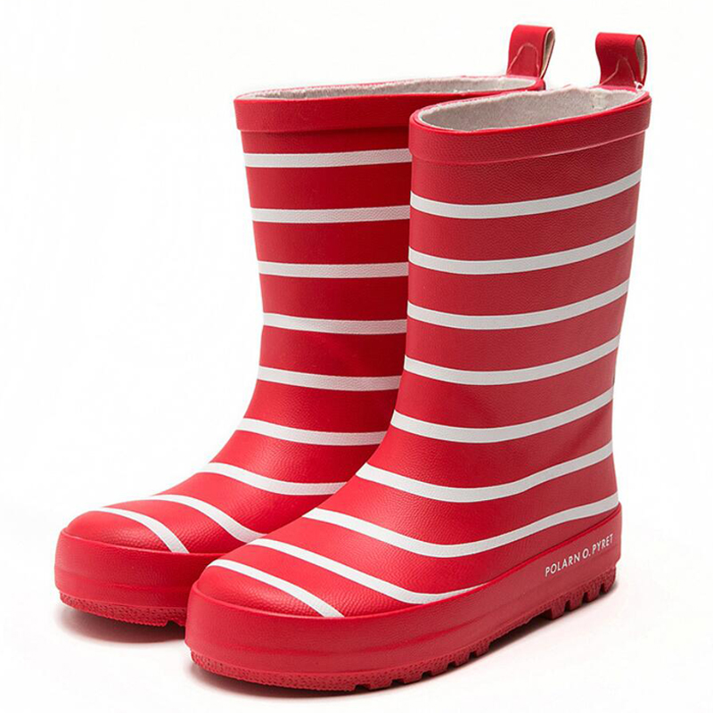 2020 New Fashion Stripe Children Rain Boots Outdoor Kids Rubber Anti Slip Waterproof Shoes For Girl Boy Water Shoes Rain Boots