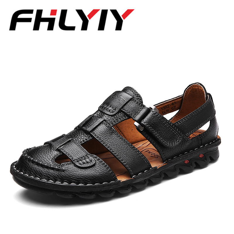 Plus Size 48 Men Sandals Tide Leather Cowhide Shoes Dual-Use Black Brown Casual Beach Slippers Sandals High Tops Zapatos Hombre