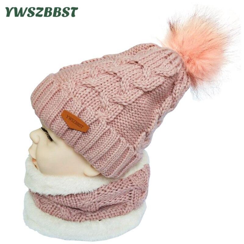 1b96e112b3f New Plush Children Winter Hats Crochet Neck Warmer Collar Pom Pom Ball Winter  Hat For Boys Girls Kids Beanies Cap Scarf Set