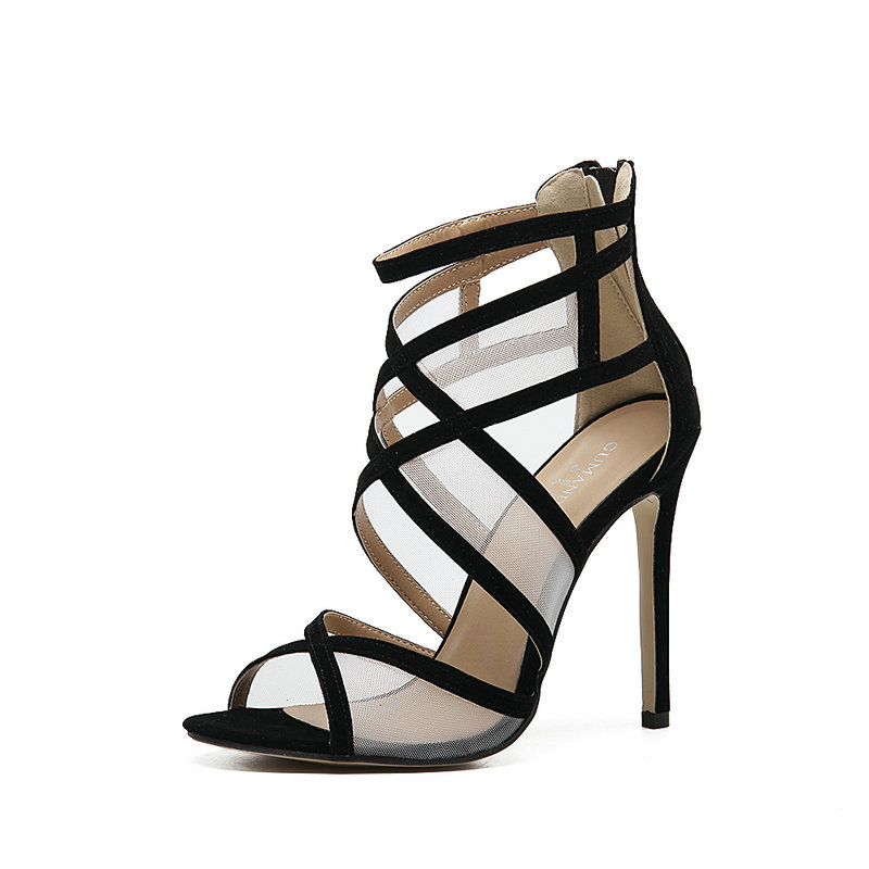 Gladiator Sandals Women Pumps Sexy Cut Outs High Heels Ankle Zipper Open Toe Lace Ladies Shoes Wedding Party Woman Stiletto barcelona nike спортивный костюм nike barcelona dry sqd suit 854341 011