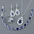 Blue Created Sapphire Tanzanite White Topaz Silver Jewelry Sets For WomenBracelets/Necklace/Pendant/Earrings/Rings Free Box