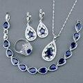 Tanzanite azul Criado Sapphire Branco Topázio Jóias de Prata Conjuntos Para WomenBracelets/Colar/Pingente/Brincos/Anéis Livre caixa