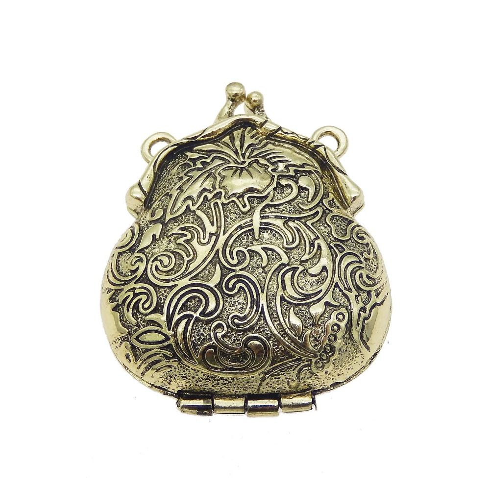 Antiqued Style Bronze Tone Oval Locket Charm Pendant 3pcs