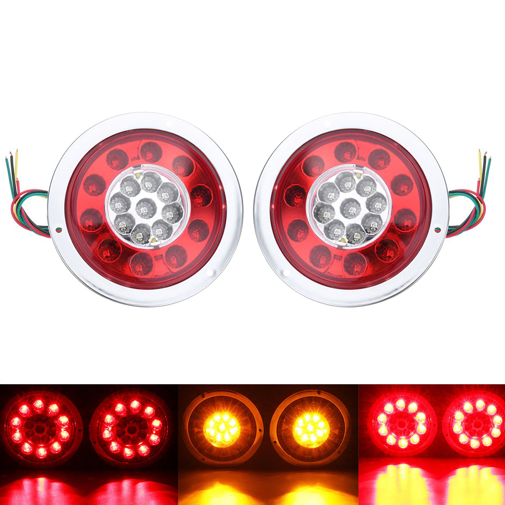 1 Pair 19 LEDs Car LED Rear Tail Lights Stop Brake Light for Truck Trailer Vehicles 12V 24V Side Lamp Red Yellow 24 led third brake tail light for vehicles dc 12v