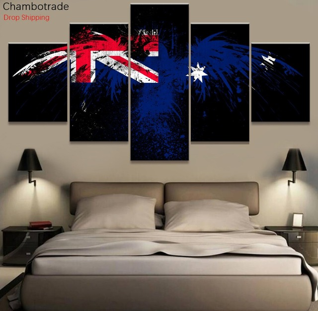 5 Piece Canvas Art Australia Flag Eagle Modern Decorative Wall Pictures For Living Room Painting
