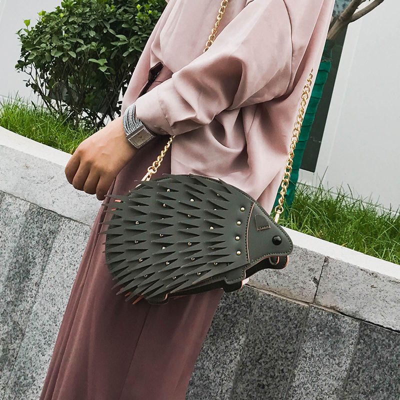 Leather Luxury Pu Rivet Brown Lady black light Chain Handbags Mini Bag Handbag green Personality Fashion Grey Bags Hedgehog Shoulder Women Designer Messenger fqrPdSxpqB