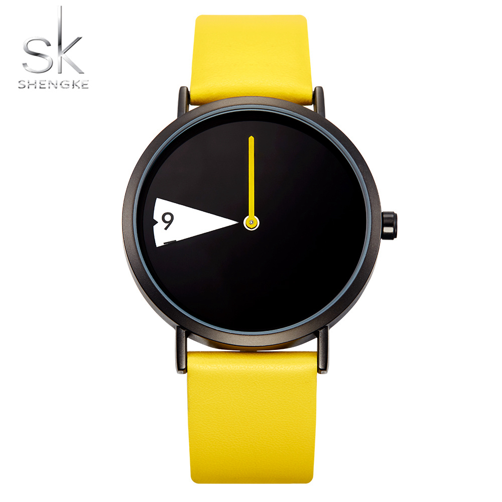 Fashion Unique Lady Watch SHENGKE Stylish Minimalism Women Clock Circle Yellow Leather Casual Popular Quartz Girls Gift Watch
