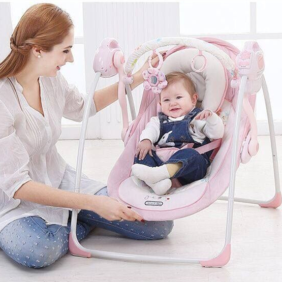 ec7927f76390 Free shipping Pink luxury baby cradle swing electric baby rocking ...
