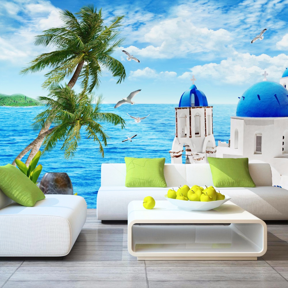 living 3d dining wall background beach mural cozy decor castle mediterranean panel simple sea wallpapers nature sofa tv fresco backdrop