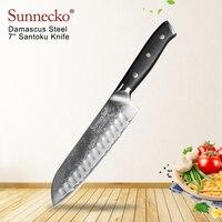 SUNNECKO Premium 7'' Santoku Knife Damascus Japanese VG10 Steel Blade Kitchen Knives G10 Handle Razor Sharp Meat Cutting Tools