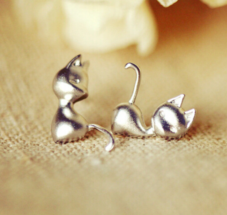 Silver Plated Cat Animation Stud Earrings Lovely Animal Kitty For Women Jewelry