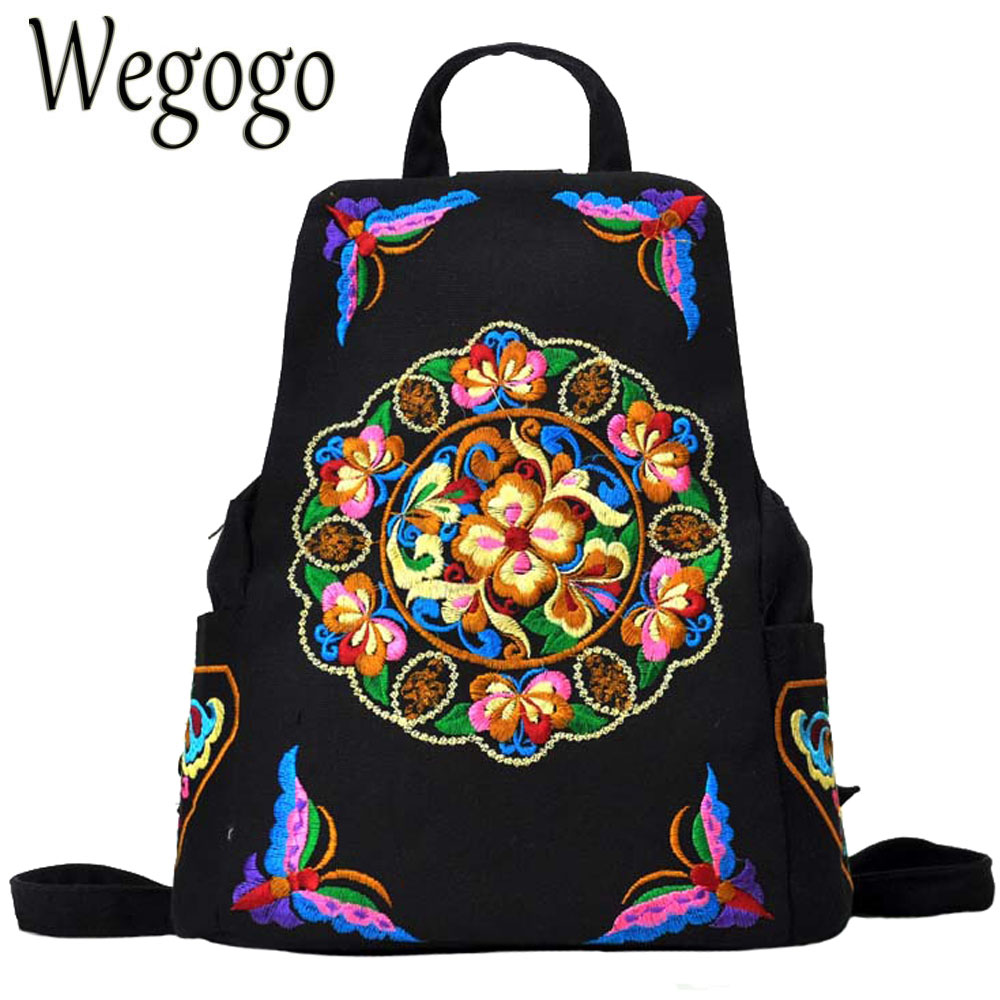 67c3583baa97 Vintage Women Backpack Canvas National Floral Embroidery Girls School Bags Black  Rucksack Casual Daypacks Travel Shoulder Bag