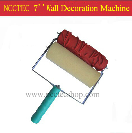 цены 7'' wall paint decoration machine with 1 red hard rubber paint roller and 1 sponge roller FREE shipping | 220 roller designs
