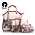 Realer marca bolso de las mujeres 3 sets vintage impreso bolso de mano de cuero artificial grande de hombro de las señoras monederos y bolsos