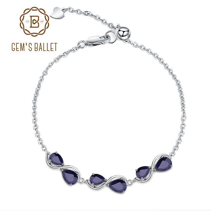 GEM S BALLET 3 41Ct Natural Blue Sapphire Bracelet 925 Sterling Silver Gemstone Adjustable Bracelet For