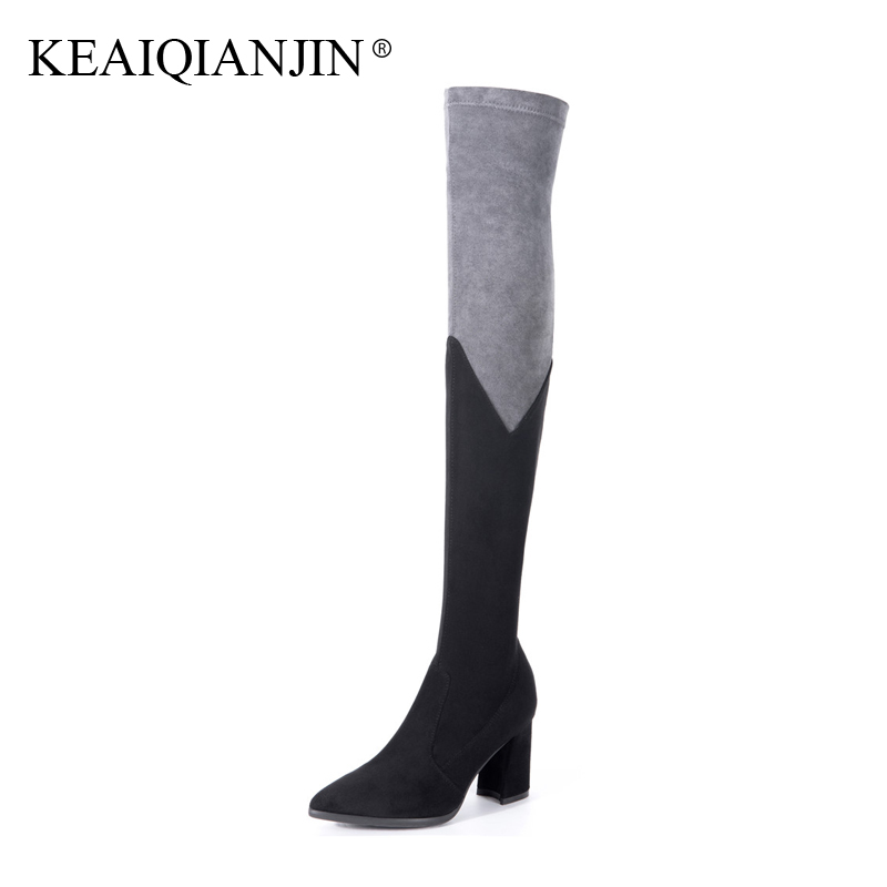 KEAIQIANJIN Woman Pointed Toe Over The Knee Boots Autumn Winter High Heel Shoes Gray Pink Boots Genuine Leather Knee High Boots dijigirls new autumn winter women over the knee boots shoes woman fashion genuine leather patchwork long high boots 34 43