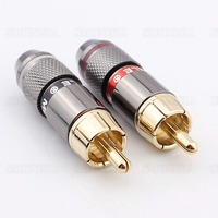 Free Shipping High Quality Gold Plating RCA Connector RCA Male Plug Support 6mm Cable