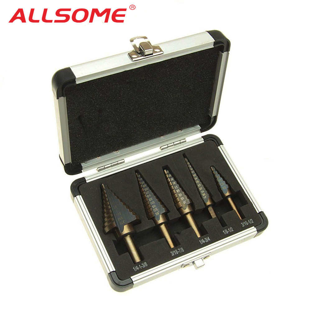 5pc HSS Cobalt Step Drill Bit Set Titanium Cone Drill Hole Cutter Bit Multiple Hole 50 Sizes Step Drill Bit Power Tool Drill Bit