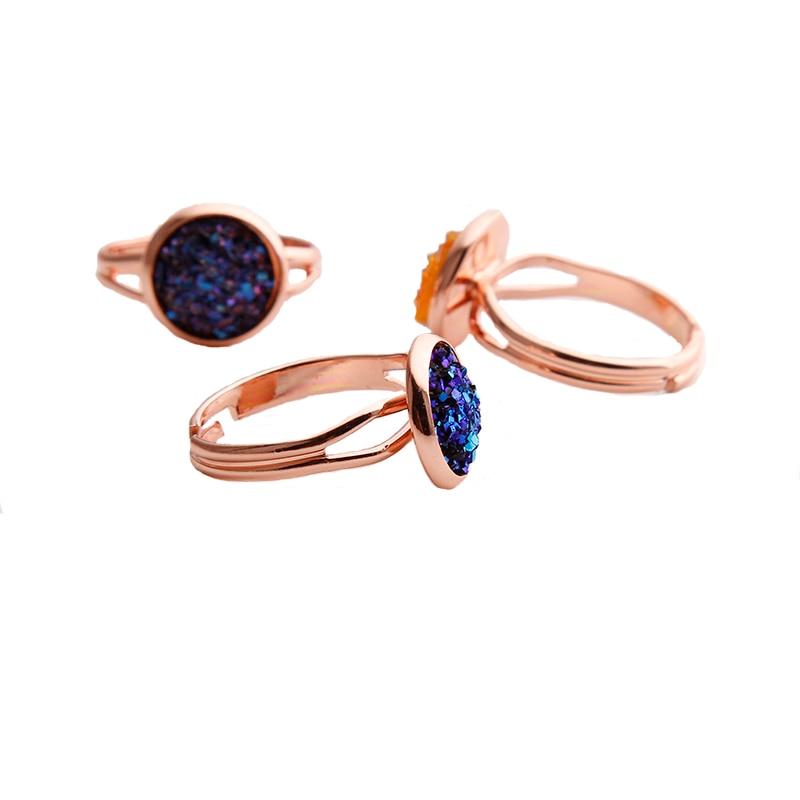 Women Adjustable Druzy Quartz Rings Fashion Wedding Engagement Multiple Silver Couple Rhinestone Opening Finger Ring Rose Gold 3