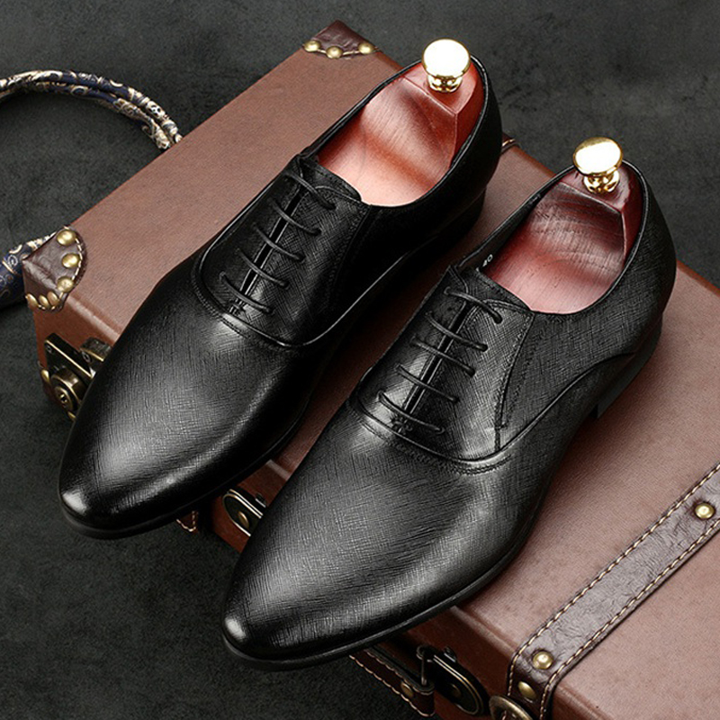 Elegant Pointed Toe Lace up Man Formal Dress Shoes Genuine Leather Handmade Party Oxfords Men's Wedding Bridal Footwear AC08 resstaurant wireless waiter service table call button pager system with ce passed 1 display 1 watch 8 call button