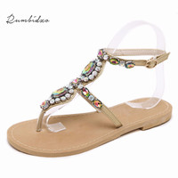 Rumbidzo Bohemian National Rhinestone Fashion Flat Shoes Women Sandals Large Size Casual Shoes Summers Sandals