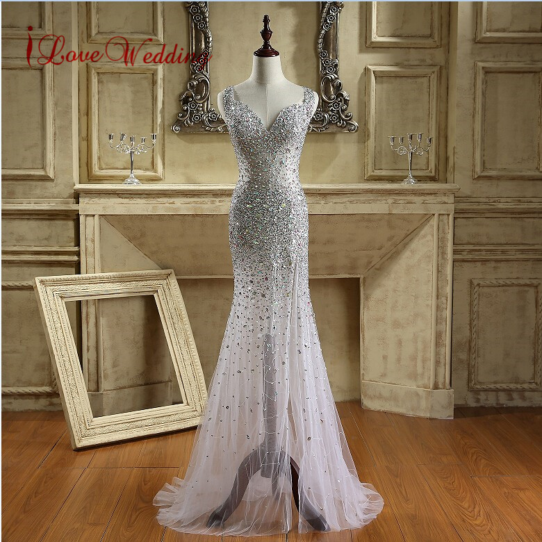 2019 Luxury Crystal Beaded Mermaid Prom Dresses Sexy Open Back Party Dresses Sweetheart Neckline Long Tulle Woman Evening Gowns