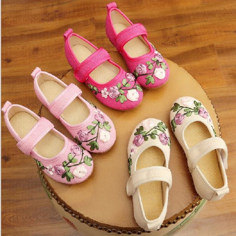 NICBUY( tongma2018 New children's embroidered shoes, old Beijing cloth shoes, ethnic style children's shoes, Chinese dress shoes