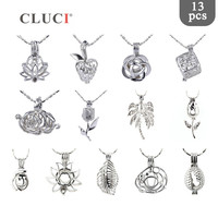CLUCI 13pcs/set Wholesale Plants charms Leaf and flowers Beads Pearl Cage Pendant for women love wish Necklace/Bracelet Making