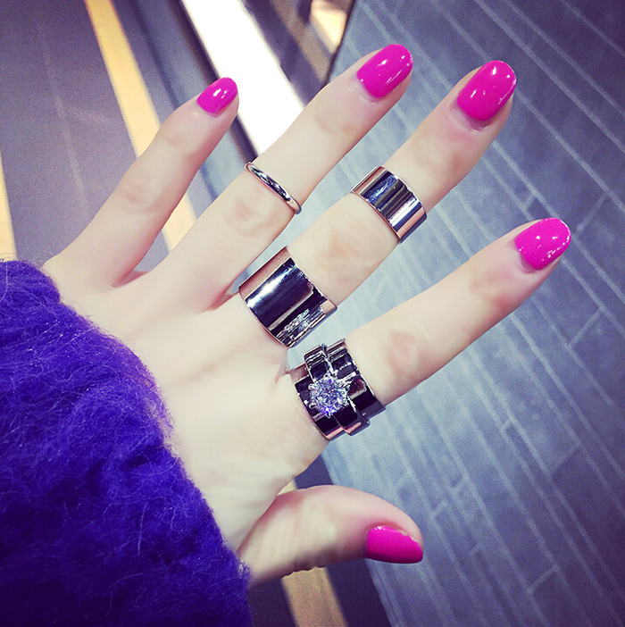 Zircon 4 piece  set female ring rhinestone finger ring joint personalized pinky ring accessories Gold Silver Color for women
