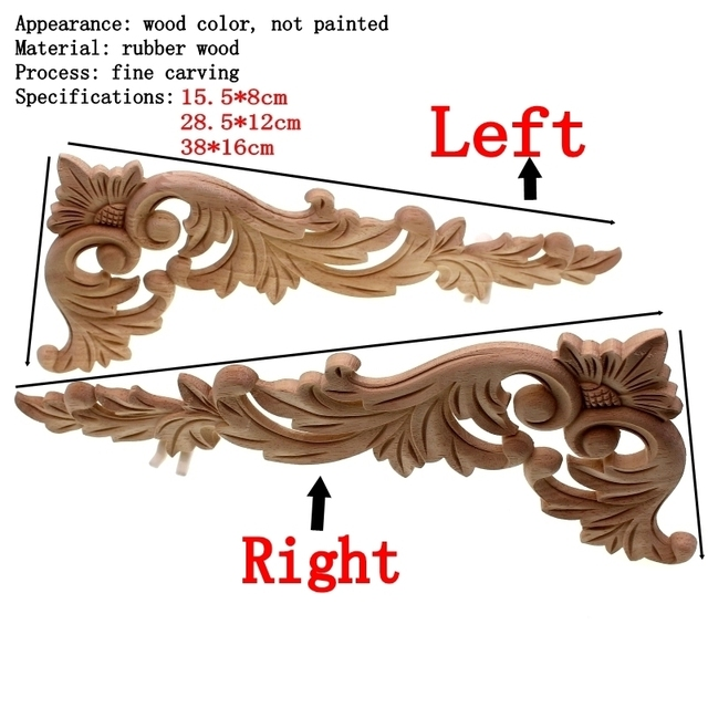 RUNBAZEF Floral Wood Carved Corner Applique Wooden Carving Decal  Furniture Cabinet Door Frame Wall Home Decoration Accessories 2