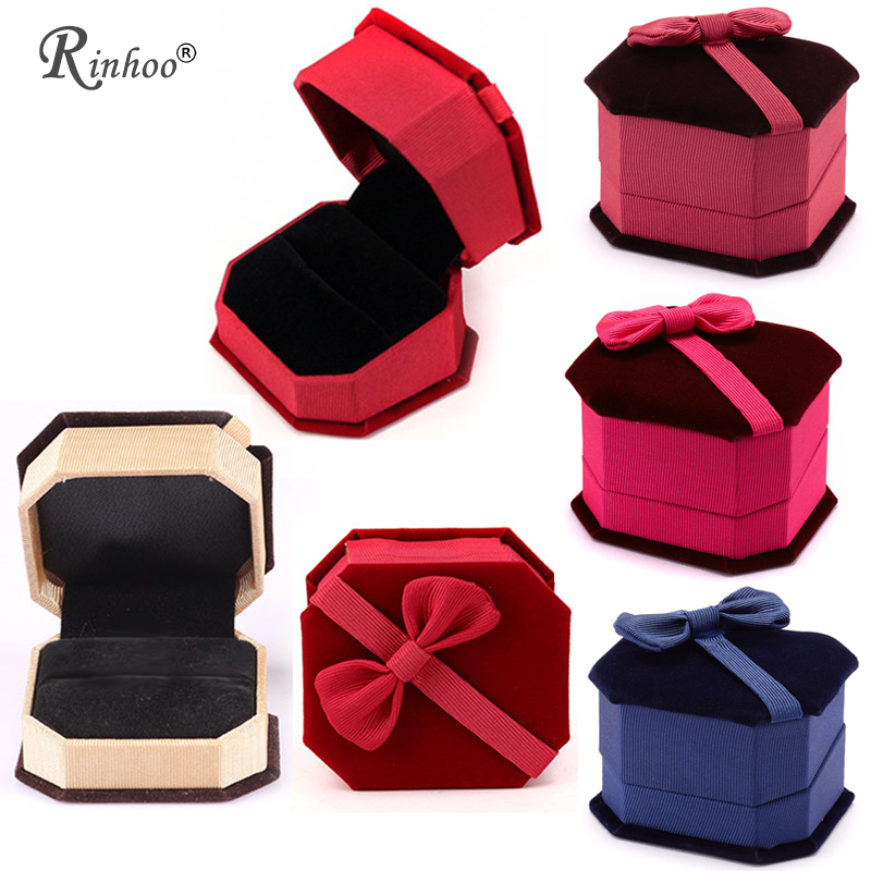 RINHOO Jewelry Ring Storage Box Organizer Bowknot Display Case Organizer Women Wedding Jewelery Storage Valentine's Day Gift Box
