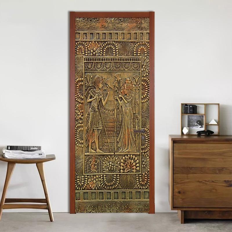 PVC Self-Adhesive Waterproof Wall Door Sticker 3D Retro Egyptian Pharaoh Wallpaper Living Room Study Door Decals 3D Mural Decor