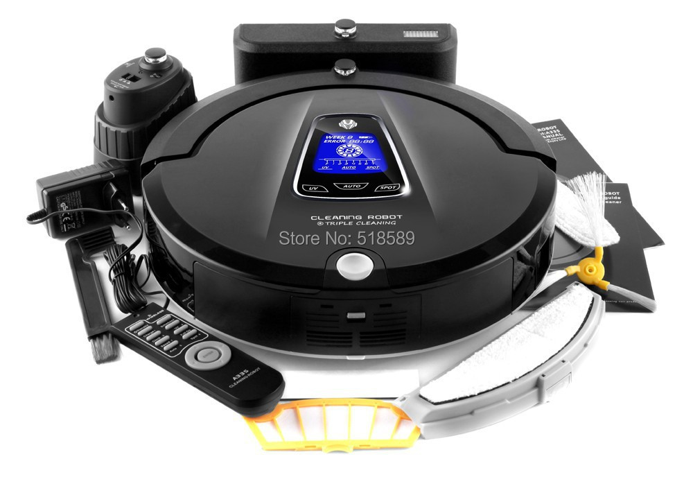 Newest Multifunction Robot Vacuum Cleaner A335(Sweep,Vacuum,Mop,Sterilize),LCD TouchScreen,Schedule,2Way VirtualWall,Self Charge
