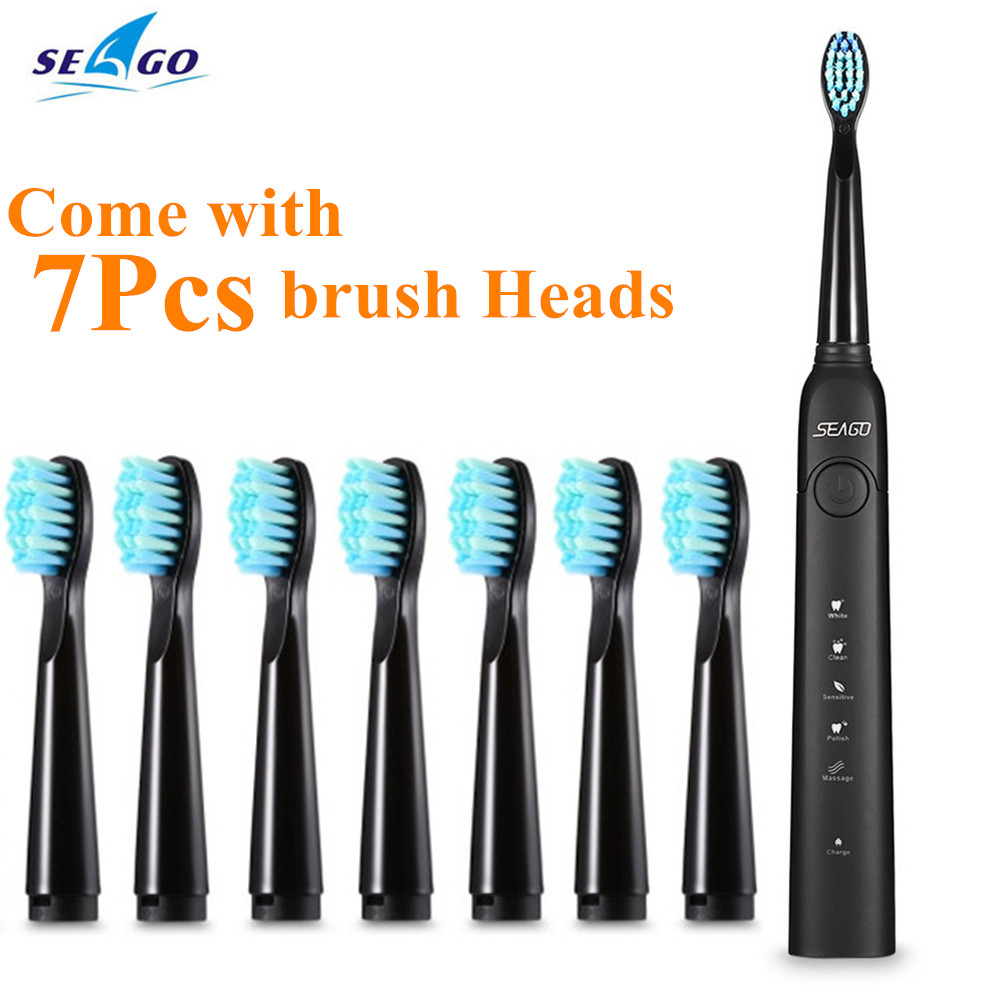 SEAGO Sonic ElectricToothbrush with Smartimer 5 Brushing Modes 3 Brush Heads USB Rechargeable Oral Hygiene Travel Toothbrush Z30 image