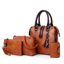 Four sets wax oil pu leather bag ladies handbags women  handbag designer handbag tasse lhigh quality woman bag famous sac a main