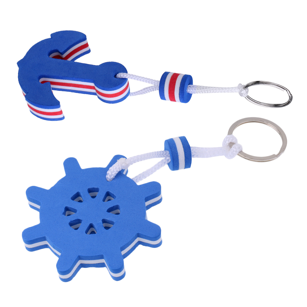 2x Boating Sailing Water Sport Floating Key Chain Key Ring-Anchor And Rudder For Water Sports Inflatable Rowing Boats Yacht