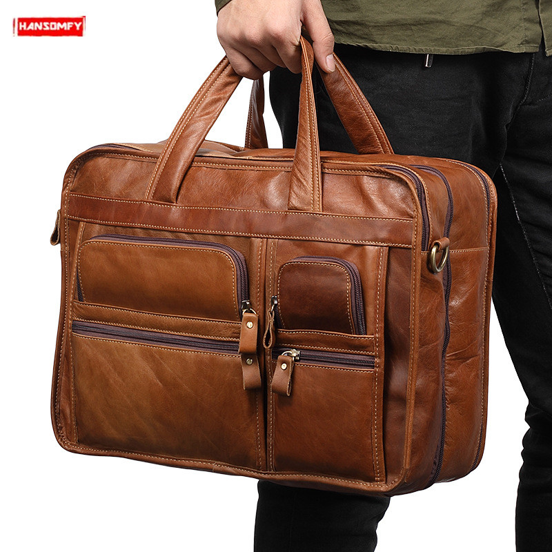 2019 New Genuine Leather Mens Briefcases 15 laptop Business handbags men Tote crossbody Bags Vintage briefcase messenger Bags2019 New Genuine Leather Mens Briefcases 15 laptop Business handbags men Tote crossbody Bags Vintage briefcase messenger Bags