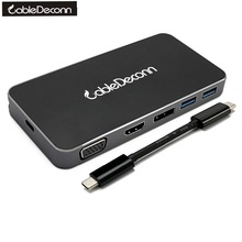 USB C Thunderbolt3 Type-c to Gigabit RJ45 USB3.0 Hub HDMI 4K 1080P VGA DisplayPort DP 4K DVI Multiport Adapter for Macbook