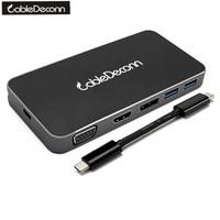 CableDeconn USB C Type C To Gigabit Ethnernet RJ45 USB3 0 Hub HDMI 4K 1080P VGA