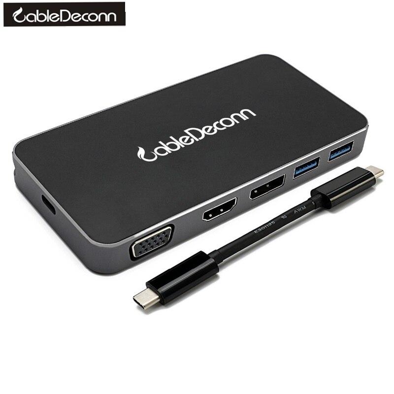 USB De Type C-c Thunderbolt3 à Gigabit RJ45 USB3.0 Hub HDMI 4 K 1080 P VGA DisplayPort DP 4 K DVI Adaptateur Multiport pour Macbook