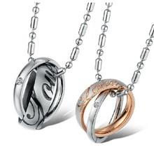 цена Fashion CZ Jewelry His & Hers 316L Titanium Stainless Steel Couples Engraved Double Pendant Necklace for Men Women онлайн в 2017 году
