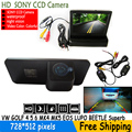 HD Video Auto Parking SONY CCD rear view car camera With 4.3 inch Mirror Monitor for VW GOLF4 5 6 MK4 MK5 EOS LUPO BEETLE Superb