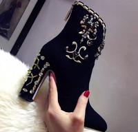 Luxurious Women Thick and High Heel Fall Winter Ankle Boots Embroider Round Toe Black Party Shoes