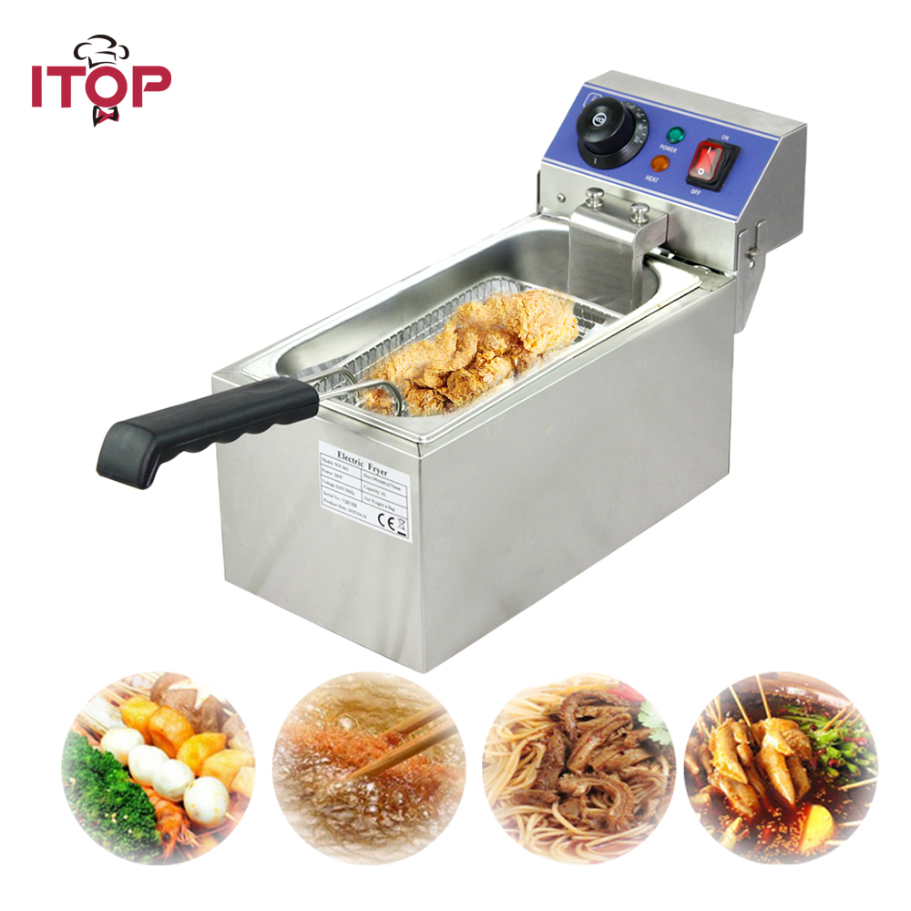 Single tank Electric Fryer stainless steel deep fryer 6liters frying oven 220V oill saving