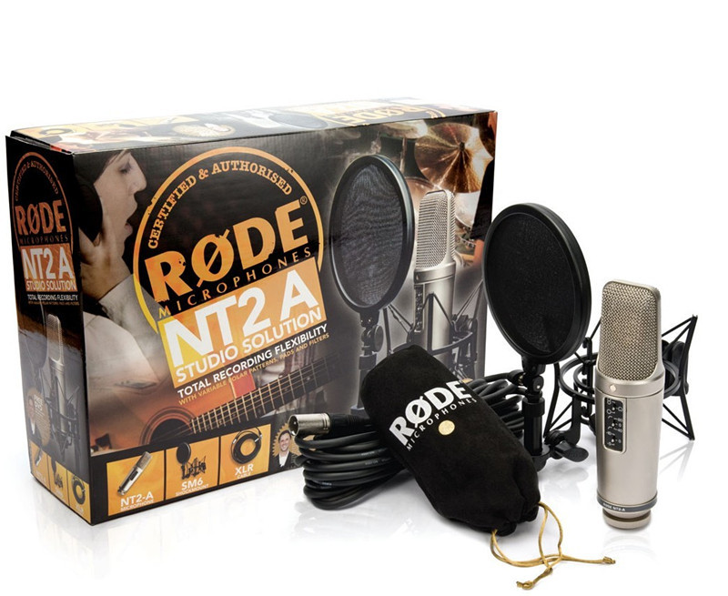 RODE NT2-A Large diaphragm condenser vocal recording microphone (multi-directional) with shock mount POP filter and cable