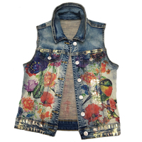 2019 New Bf Style Printed Casual Vintage Jacket Women Sleeveless Coat Jackets Women' Tops plus size 2XL