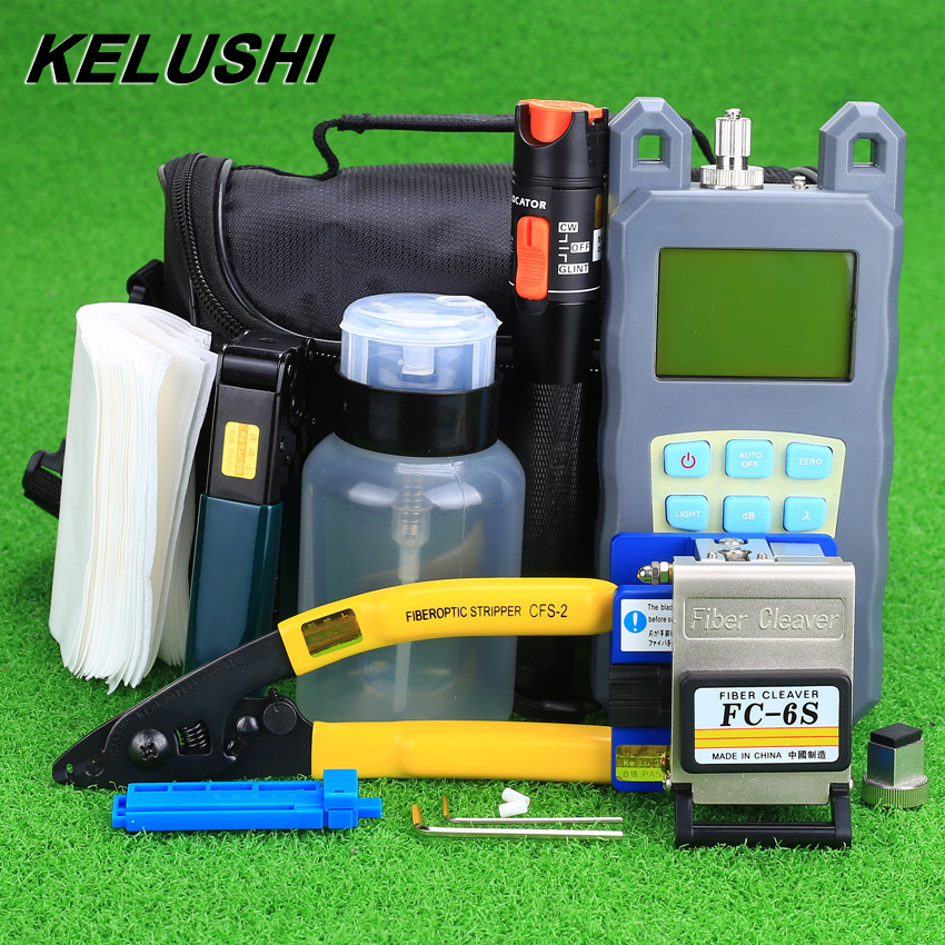 KELUSHI 19pcs set FTTH Tool Kit with FC 6S Fiber Cleaver and Optical Power Meter 10mW