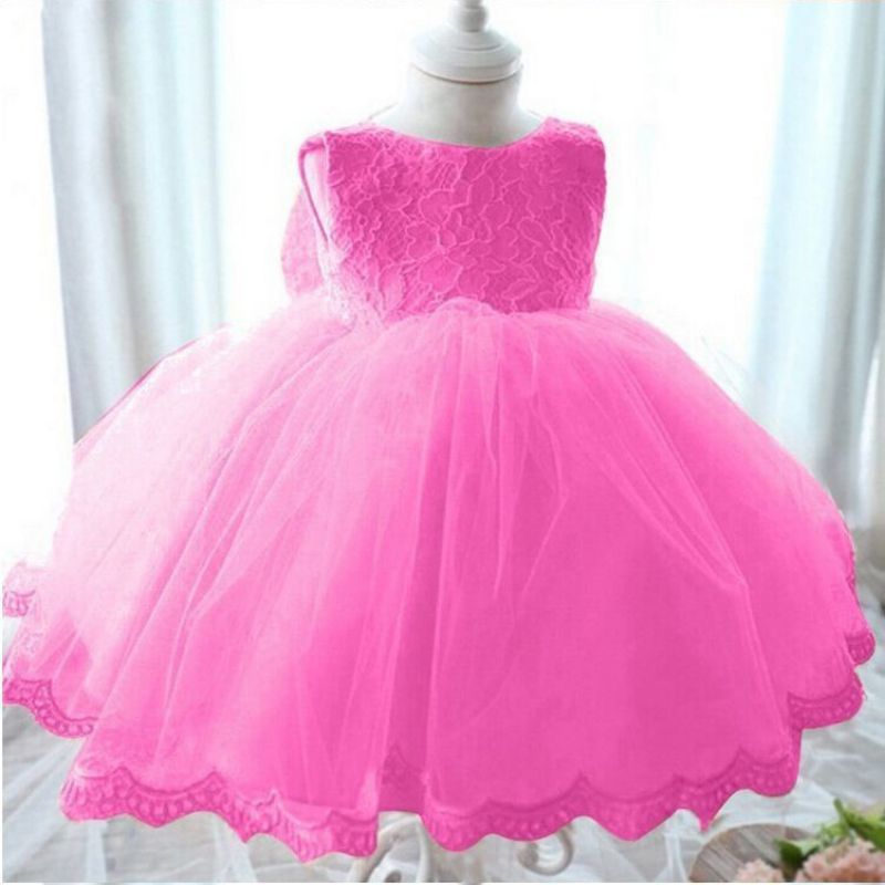 Infant Baby Girls Dress Baptism Birthday Party Lace Bowknot Dress 1-6 Y 2017 Clothing Wedding Party Long Dress Lolita Style baby girls infant wedding party bowknot sleeveless ruffled vest dress sundress
