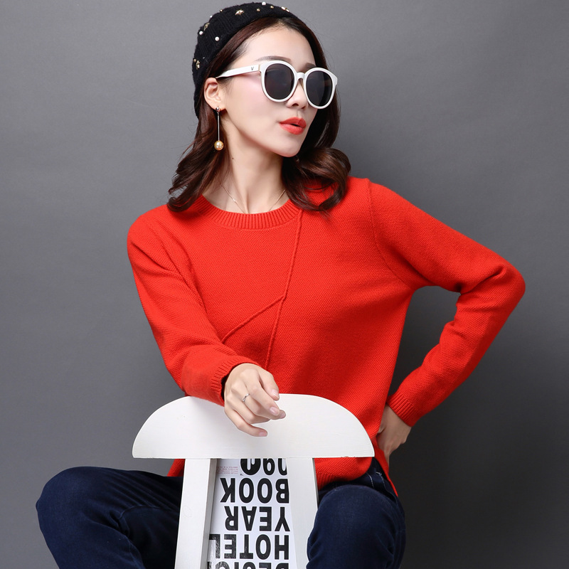 ca68a911e7 Women Korean Sweater Thick Coarse Wool Knitted Lantern Sleeve Tops Fashion  Casual For Spring Autumn Winter Knitted Pullover-in Pullovers from Women s  ...