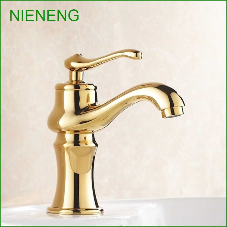 NIENENG golden basin sink bathroom tap brass faucet lavatory toilet taps bath basin faucet for bathroom WC mixers ICD60162 цена